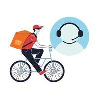 Agente de servicio al cliente con mensajero en máscara haciendo una entrega en bicicleta vector
