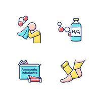 conjunto de iconos de color rgb de medicación de emergencia