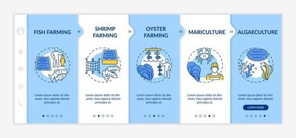 Aquaculture types onboarding vector template