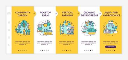 Urban farming onboarding vector template