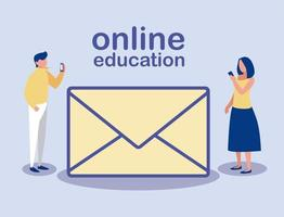 personas con teléfonos inteligentes e icono de mensaje, educación en línea vector