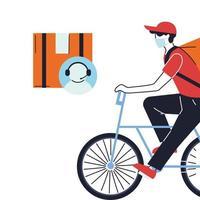 Mensajero en bicicleta en máscara y agente de servicio al cliente. vector