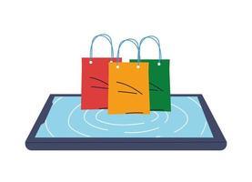 merchandise in bags on top of smartphone screen vector