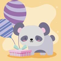 linda tarjeta de cumpleaños con oso panda kawaii