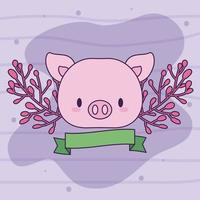 lindo cerdo kawaii con plantas vector