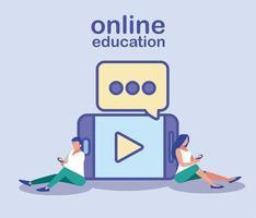 hombre y mujer con teléfonos inteligentes, educación en línea