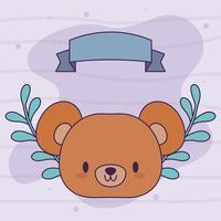 cabeza de oso kawaii con flores