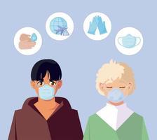 Hombres con máscaras médicas y diseño vectorial de conjunto de iconos covid19