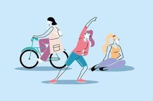 personas que realizan actividad física, estilo de vida saludable y fitness vector