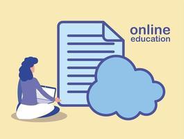 mujer con nube de computadora y archivo electrónico, educación en línea vector