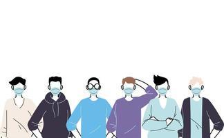 hombres jóvenes con mascarillas para prevenir el virus vector