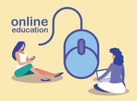mujeres con dispositivos tecnológicos, educación en línea vector