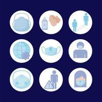 Máscara médica y covid19 conjunto de iconos de diseño vectorial