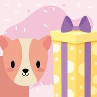 linda tarjeta de cumpleaños con conejillo de indias kawaii vector
