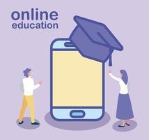 hombre y mujer con smartphone y sombrero de graduación, educación en línea