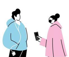 pareja joven, utilizar, dispositivos electrónicos, y, auriculares