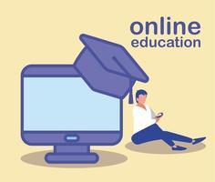 hombre con computadora de escritorio, educación en línea