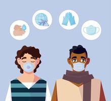 Hombres con máscaras médicas y covid 19 conjunto de iconos de diseño vectorial