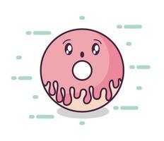Donut fresco y delicioso estilo kawaii vector