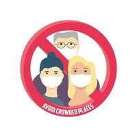 evite los lugares concurridos, la familia evite las multitudes para detener el coronavirus