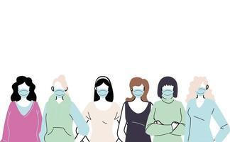 mujeres jóvenes con mascarillas para prevenir el virus vector