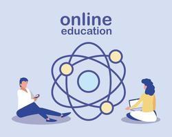personas con tecnología, educación en línea. vector
