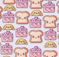 pattern with fresh and delicious kawaii style breads vector