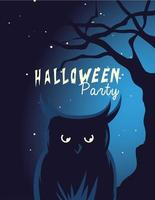 dibujos animados de búho de halloween con árbol en la noche diseño vectorial vector