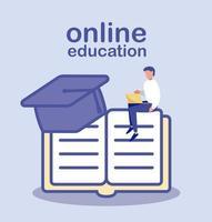 hombre con libro y sombrero de graduación, educación en línea