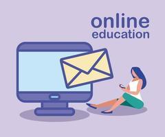 mujer con computadora de escritorio, educación en línea