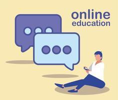 hombre con smartphone y bocadillo, educación en línea