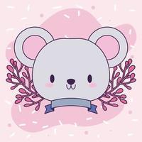 cabeza de ratón kawaii con flores