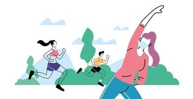 jóvenes haciendo actividad física al aire libre en el parque, estilo de vida saludable y fitness vector