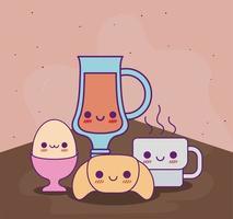 Taza de jugo kawaii pan de huevo y taza de café diseño vectorial vector