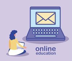 hombre con laptop, educación en línea vector