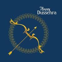 Arco de oro con flecha delante del ornamento de mandala sobre fondo azul diseño vectorial