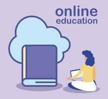 educación en línea, mujer con laptop y libro vector