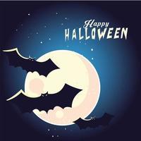 Dibujos animados de murciélagos de halloween frente a diseño vectorial de luna vector