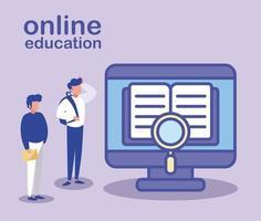 hombres con computadora de escritorio, educación en línea