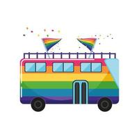 Autobús turístico pintado con colores lgbtq sobre fondo blanco. vector
