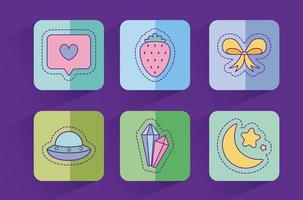 Cute love and lifestyle patches set vector design