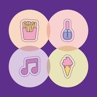 papas fritas música nota esmalte de uñas y helado diseño vectorial vector