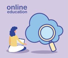 mujer busca información en la nube, educación en línea vector