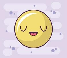 icono de cara feliz, emoticon de estilo kawaii vector