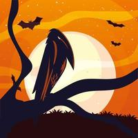 dibujos animados de cuervo de halloween en diseño vectorial de árbol vector
