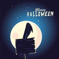 dibujos animados de cuervo de halloween en diseño de vector de banner de madera