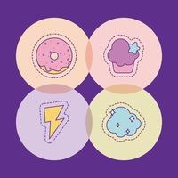 Donut muffin trueno y diseño de vector de nube