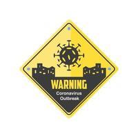 señal de advertencia, enfermedad por coronavirus o covid 19 vector