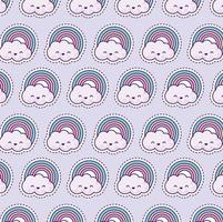 pattern with rainbow and clouds, patch style vector