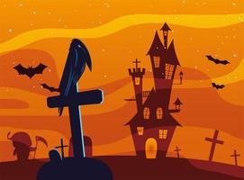 Halloween raven cartoon on grave in front of castle vector design